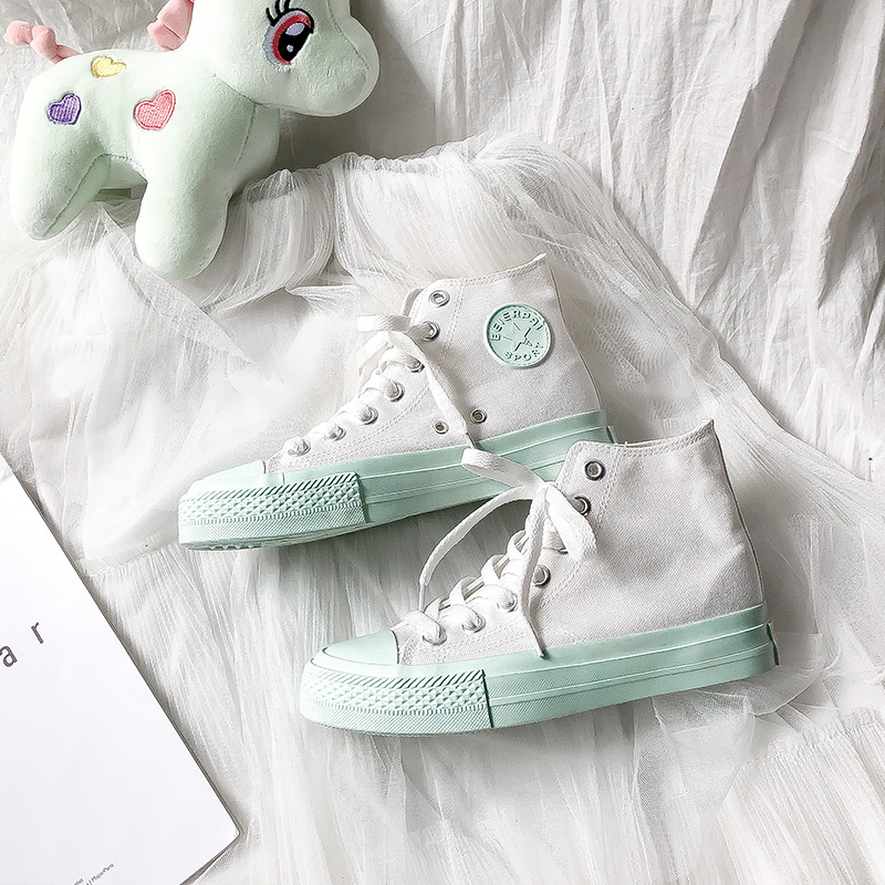 Summer New Arrival Light Green Canvas Women Shoes 2019 White High-top Outdoor Casual Ladies Sneakers Fashion Trend FemaleSummer New Arrival Light Green Canvas Women Shoes 2019 White High-top Outdoor Casual Ladies Sneakers Fashion Trend Female