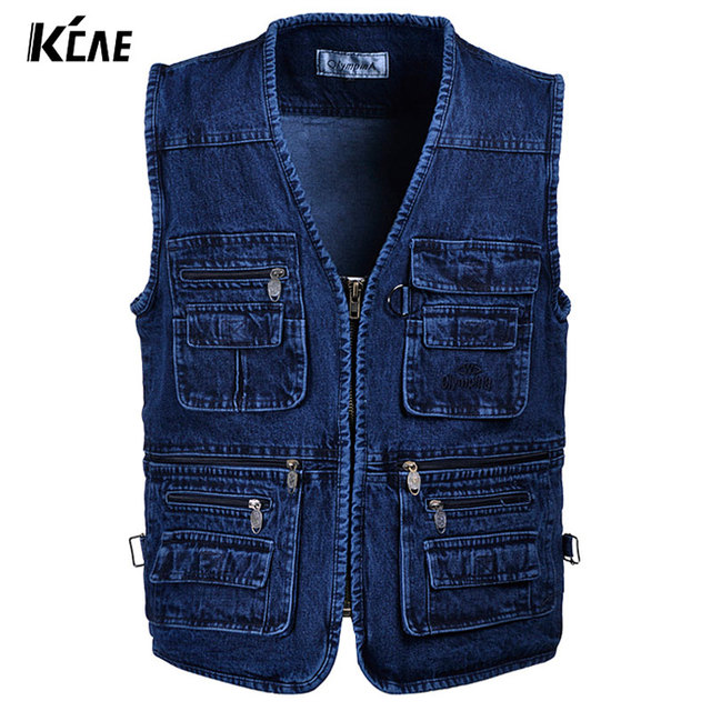 2016 new Brand Plus Size XL-XXL,3XL,4XL,5XL Men's DENIM Vest Male Gilet Sleeveless Jackets Jeans For Photographer Outerwear