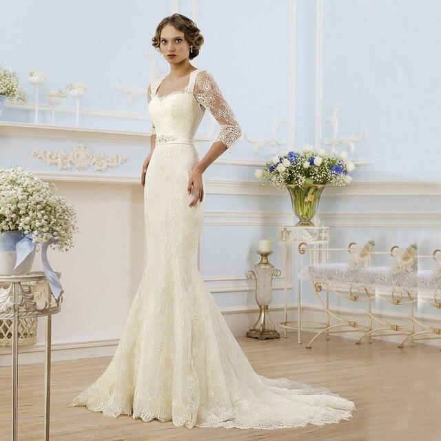 vestidos de novia por encargo de marfil rebordear appliques sirena