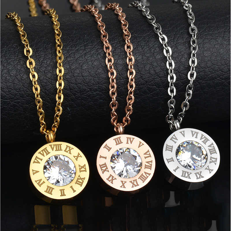 Hot Sale Brand Stainless Steel Interchangeable Pendant Necklace 7 Colors CZ Stone Noman Number Exchange Necklace Female Bijoux
