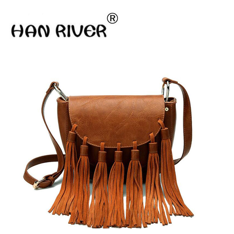 PU tassel female bag 2018 summer new south Korean version of small bag fashion single shoulder tassel bag lady bag 2018 new female korean version of the bag with a small square package side buckle shoulder messenger bag packet tide