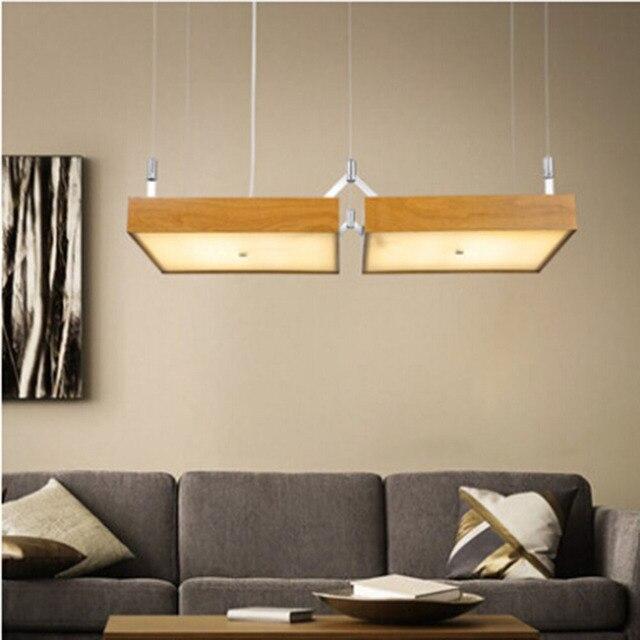 Nordic hanglamp houten vis lijn vierkante art restaurant studie ...