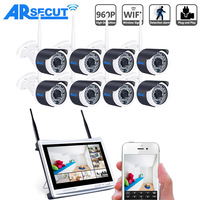 ANRAN Surveillance P2P 8CH WIFI NVR 12 Inch LCD Screen 36 IR Waterproof Security 960P Wireless