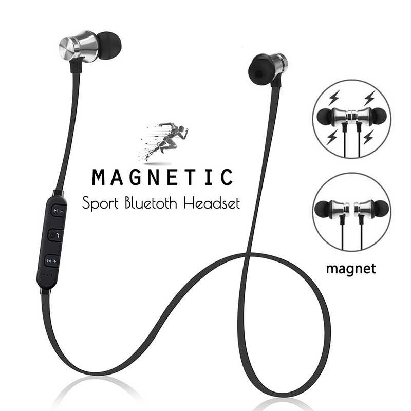 2019 Baru XT-11 Wireless Bluetooth Magnetik Earphone Olahraga Headphone Stereo Bass Musik Earphone dengan Mic Headset untuk iPhone