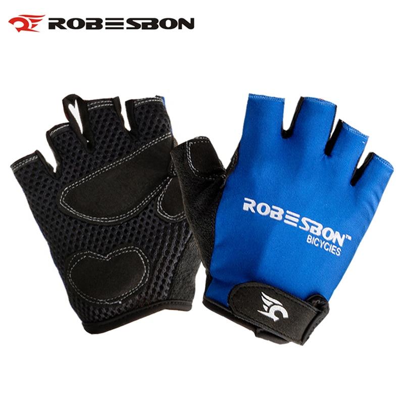 ROBESBON M-XL Half Finger Cycling Gloves Gel Anti-slip MTB Bike Fingerless Gloves For Men Women Bicycle Gloves Without Fingers