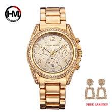 זרוק משלוח 1 סט רוז זהב למעלה יוקרה מותג נשים ריינסטון שעונים Femme לוח שנה עמיד למים אופנה שמלת גבירותיי שעון