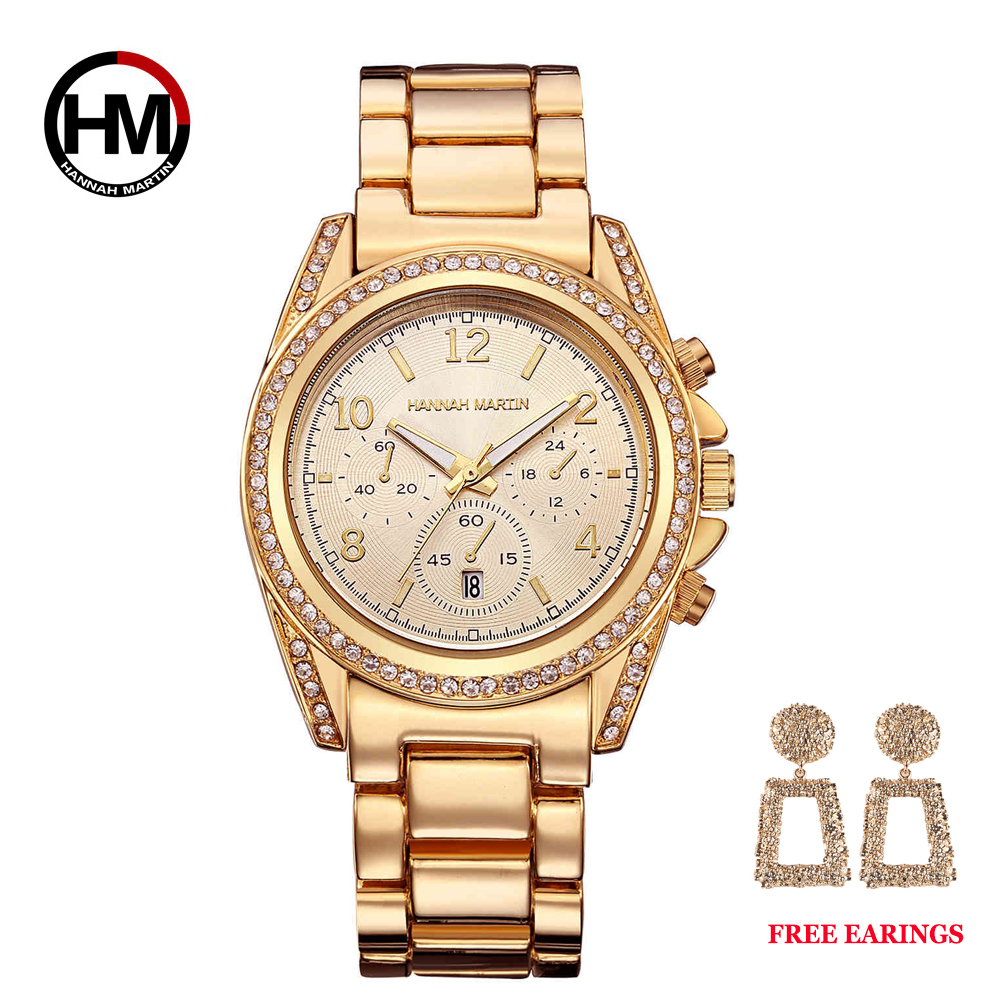 Image 5 - Drop Shipping 1 set Rose Gold Top Luxury Brand Women Rhinestone Watches Femme Calendar Waterproof Fashion Dress Ladies watch-in Women's Watches from Watches