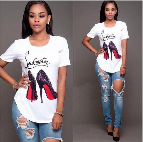 T High Heels Print Funny Letter Summer T-shirt Women's Princess Short Sleeve T Shirt Frail Tops Cheap Female Tops
