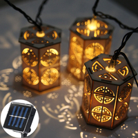 20LED Chinese Style Wooden Lantern Led Light String Solar Led String Fairy Lights Outdoor Garden Fence Summer Decoration Light