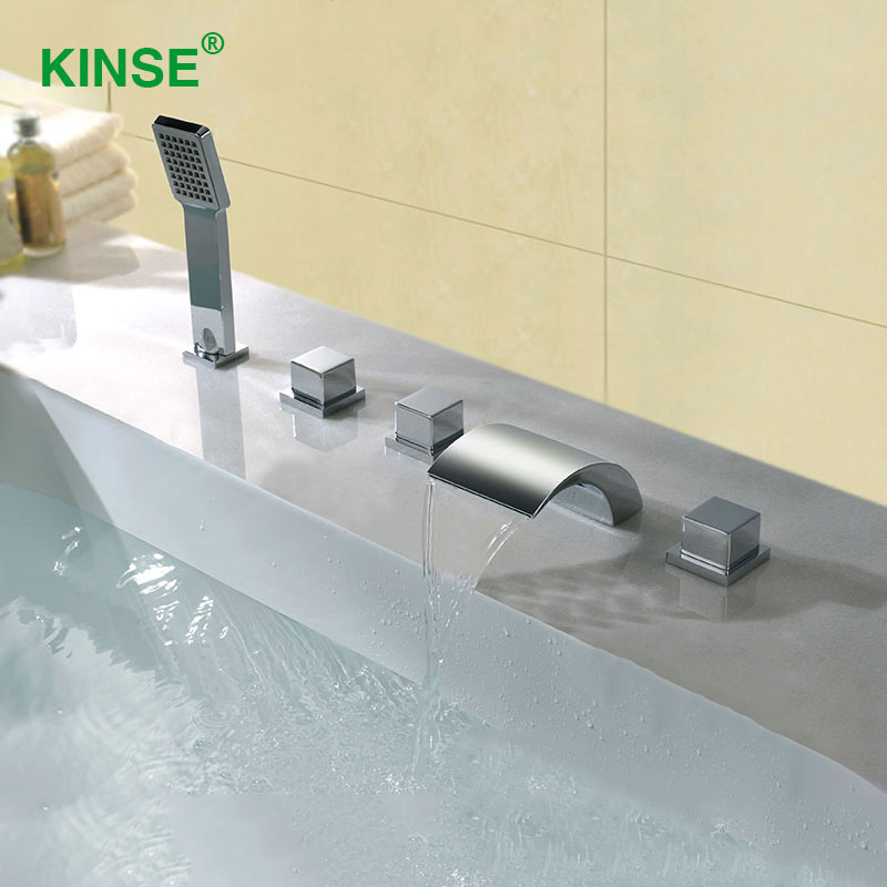 Waterfall Type Bathroom Faucets: KINSE Brass Material Chrome Finish Five Piece Bathtub