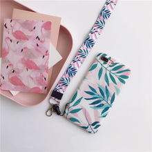 Ultra Soft Fashion Leaves Case with Neck Strap Lanyard for iPhone X XS 7 8 plus 6 6s Matte TPU Protect