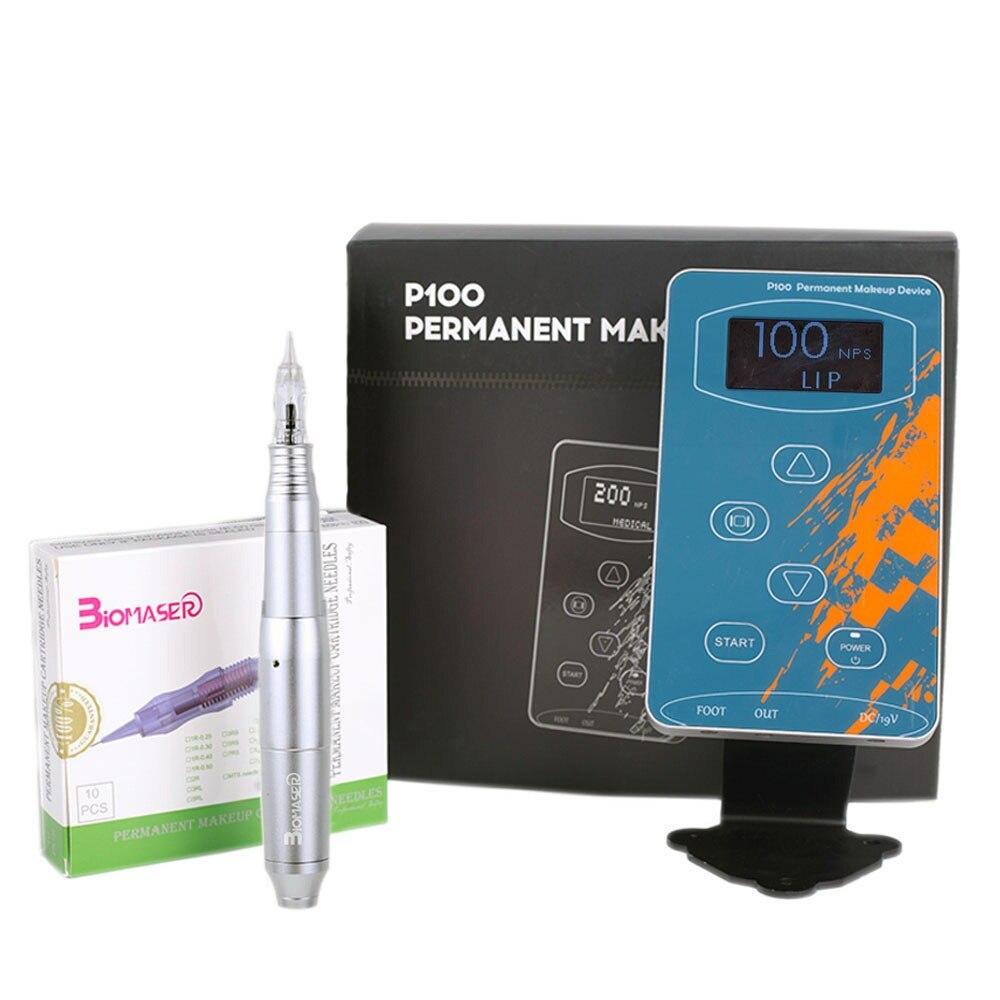 BIOMASER BlackP100CQ003 Перманентный Макияж Ротари машина бровей татуировки наборы Professional ручка для брови, подводка, губы Набор Татуировок