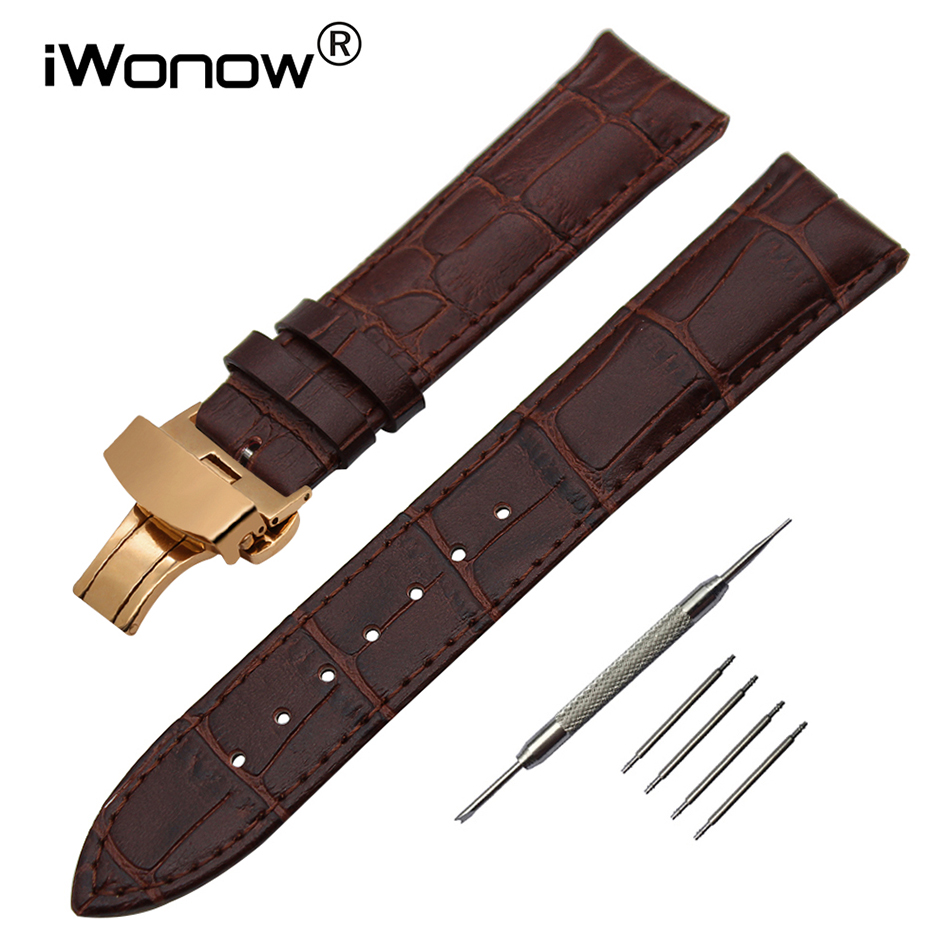 Genuine Leather Watchband for Timex Diesel Fossil Armani CK DW Watch Band Butterfly Clasp Strap 14/16/18/19/20/21/22/23/24/26mm