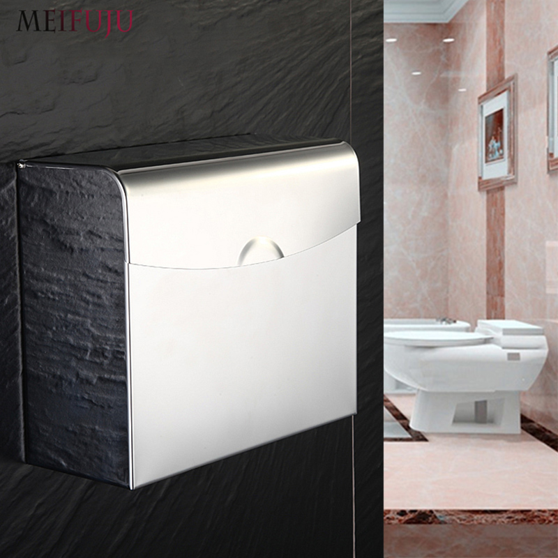 MEIFUJU 304 Stainless Steel Toilet Paper Holder Box Square Toilet Paper Holders Tissue Wall Mounted Modern free shipping MFJ512 гарнитура remax rm 502 blue