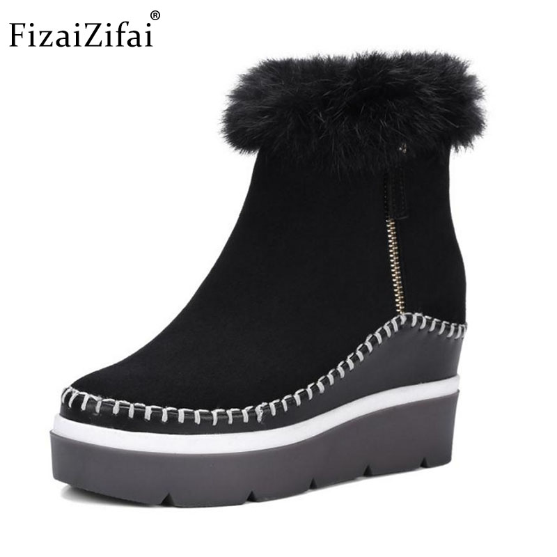 Fizaizifai Women Real Leather Snow Boots Half Short Wedges Boots In Winter Shoes Zipper Warm Fur Botas Women Footwear Size 34-39 women real genuine leather ankle boots half short boots winter warm botas lady footwear leisure shoes r7465 size 34 39
