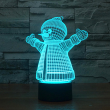 Creative Christmas Gift 3D illusion Lamp Snowman with Coat design LED Night Light for Children Living