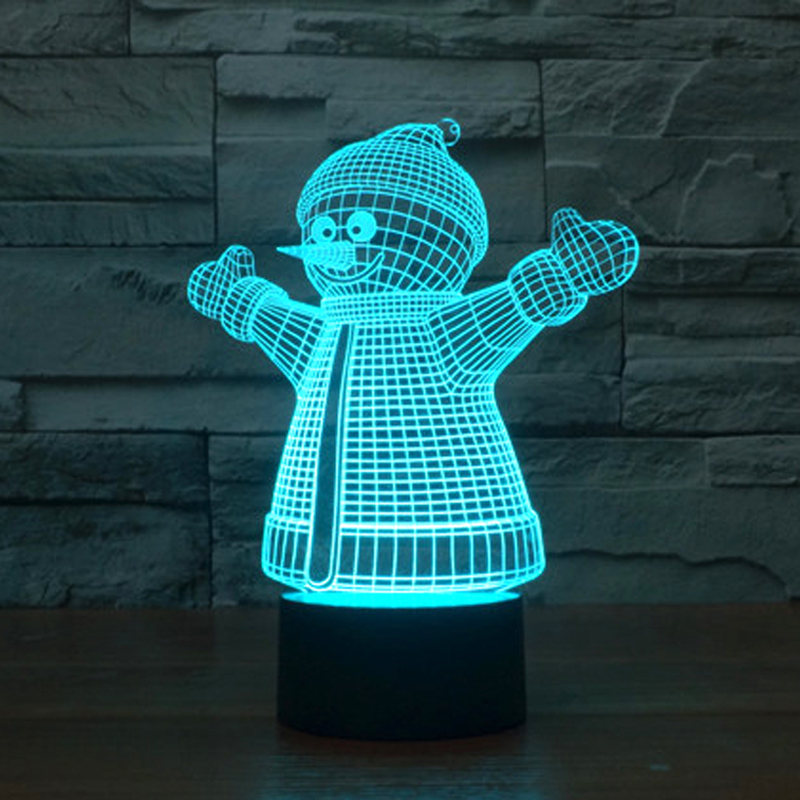 Creative font b Christmas b font font b Gift b font 3D illusion Lamp Snowman with