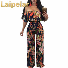 2018 Ruffles Off The Shoulder Elegant Rompers Womens Jumpsuit Boho Style Floral Print Long Jumpsuit Overalls Wide Leg Jumpsuit open shoulder floral print flounce jumpsuit
