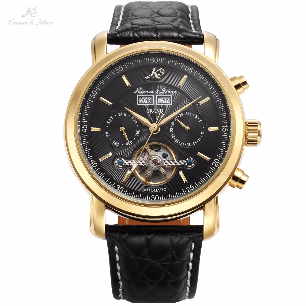KS Auto Mechanical Golden Case Black Date Calendar Tourbillon Steel Waterproof Men Leather Strap Wrist Watch + Wooden Box /KS369 casual leisure sport men s mechanical wrist watch leather strap tourbillon calendar display luminous night light big crown