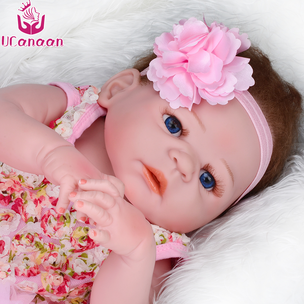 UCanaan 50-55CM Soft Silicone Reborn Baby Doll Girl Toys 22inch Lifelike Babies Full VInyl Fashion Dolls Reborn ucanaan 1 pc fashion monstr doll high quality moving joint body for babie doll accessories doll reborn baby toys gift for girl