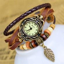 Падение доставка отслеживаются Для женщин кожаный браслет часы Для женщин Часы женские часы листьев Винтаж наручные No.10-8