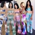 Tie dye imprimir 5 cores S-XL 2017 mulheres verão moda dois peças conjuntos conjuntos sem mangas longas largas calças perna sexy clube do partido XD850