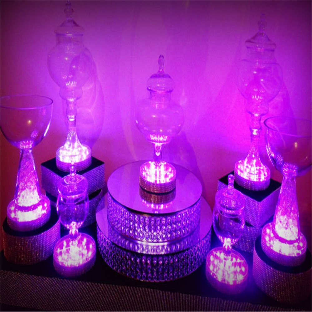 Rechargeable Under Vase Table Light Round RGB Colors Led Light Base with Remote Controller for Wedding Stage Decoration