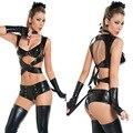 Halloween party костюм Черный Искусственной Кожи Женщина-Кошка Костюмы Sexy Хэллоуин Костюмы для женщин