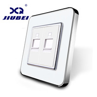 Jiubei Manufacture White Crystal Glass Panel 2 Gangs Computer Socket Wall Outlet Plug Socket SV C701CC