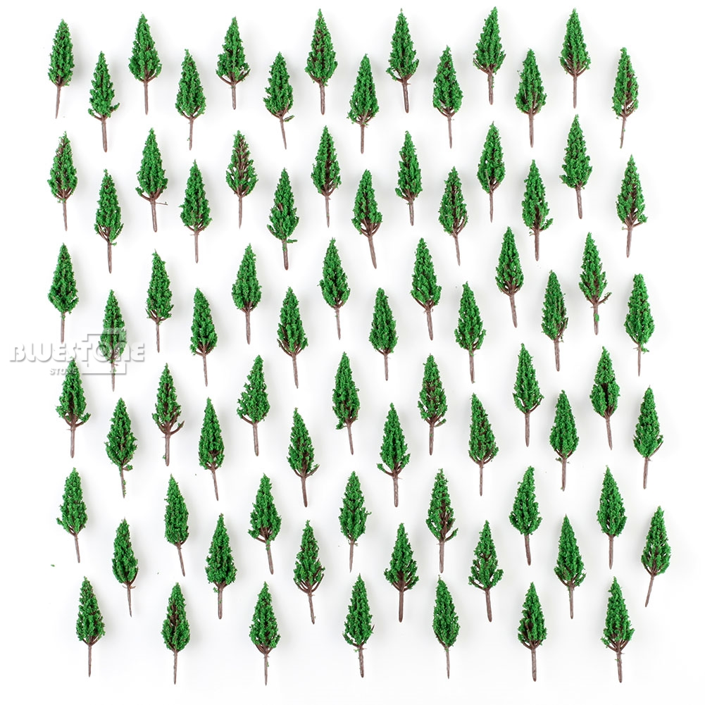 100 X Model Pine Trees Model Train Park Trees for N or Z Scale Snow Scenery 58mm image