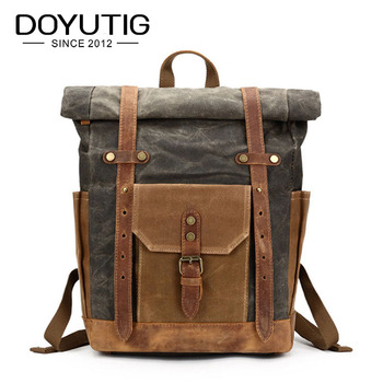 New Design Men Canvas Backpack Travel Schoolbag Male Large Capacity Satchels High Quality Crazy Horse Leather Big Backpack H014