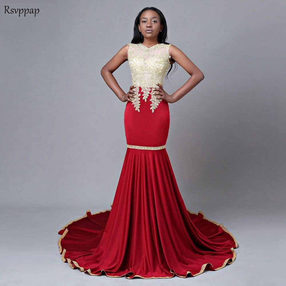 8df637cb5689b Long Burgundy Prom Dresses 2019 Mermaid Top Gold Lace African Floor Length  Black Girl Party Prom Dress