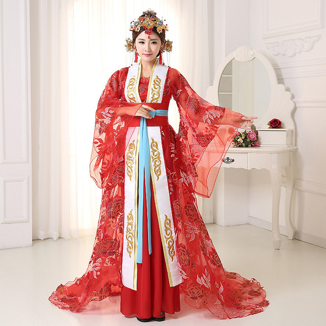 1374b1a53 Women Chinese Princess Dance Costume Female Wu Zetian Tailing Cosply Dress  Chinese Traditional Costume Folk Dance Cloting 89