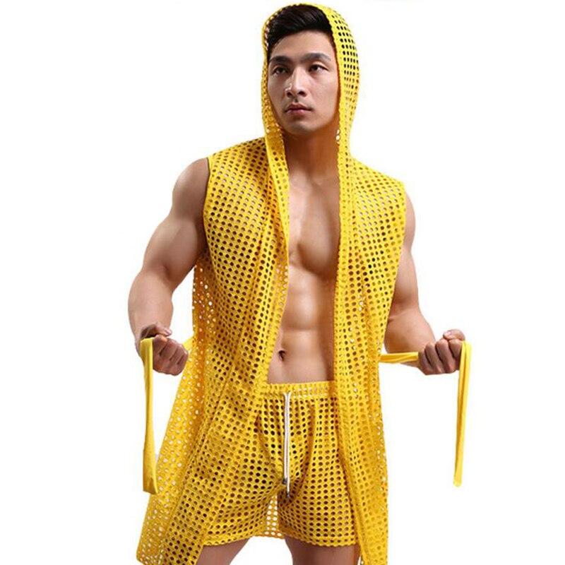 KWAN.Z Men's Bathrobes Kimono Home Casual Sleepwear Hollow Nets Sexy Men's Bathrobe Gown Hooded Mantle Men Homme Badjas Dressing
