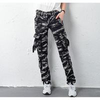 SHIERXI New women trousers multi pocket cargo pants womens trousers Straight overalls for women pants