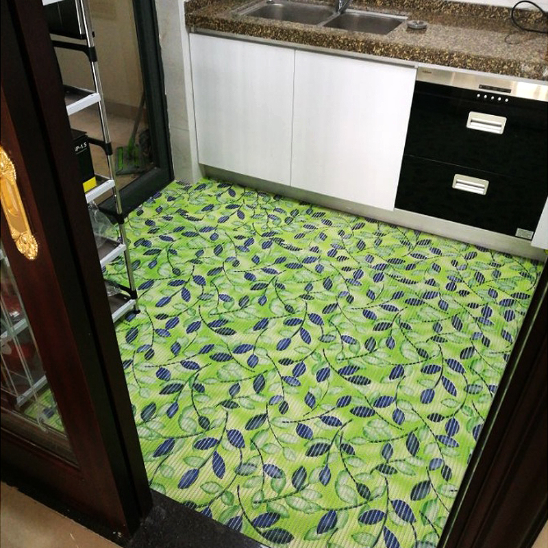 Fabulous Us 17 76 26 Off Kitchen Mat Bathroom Waterproof Mat With Suction Cup Plastic Carpet Pvc Waterproof Wooden Floor Protection Mat Green Leaves Rug In Home Interior And Landscaping Staixmapetitesourisinfo