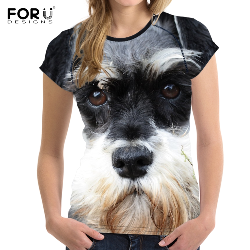 FORUDESIGNS 3D Dog Schnauzer Face Printed Women T Shirt Fashion Bodybuilding Tee Shirts Brand Designer Short Sleeve Tops Clothes