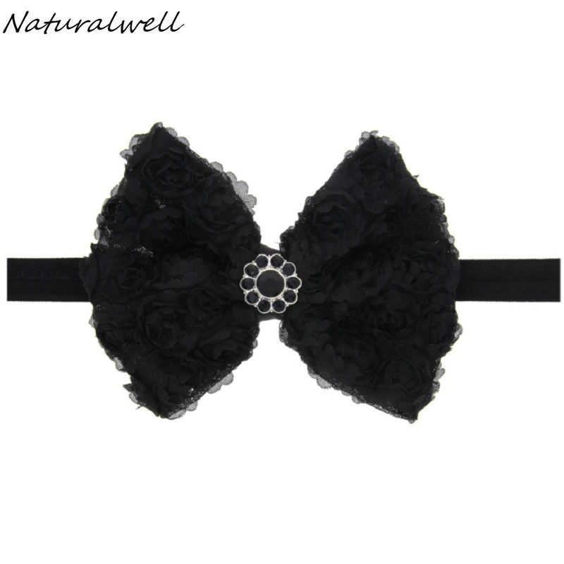 Naturalwell Baby girls Halloween headband Black Hair bows Toddler Infant halloween flower headbands Photo Prop HB616