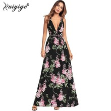 Ruiyige Sexy Deep V Backless Maxi Dress Halter Floral Print Chiffon Summer Party Dresses Split Bandage Women Long Bench Vestidos