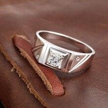 0 27 0 08ct Natural GIA Diamond Ring for Men 18K White Gold Handmade Wedding Engagement