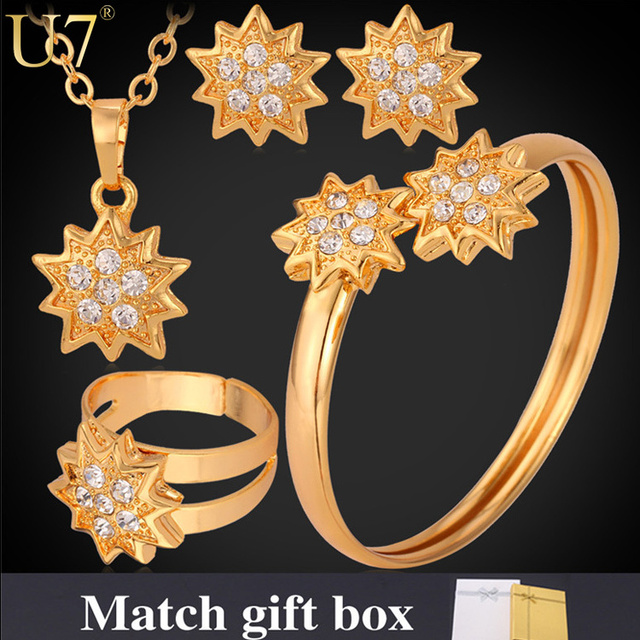 U7 Bridal Jewelry Women Set Gold Plated Lucky Star 3 Pieces Adornment Jewelry Set For Wedding Accessories S593