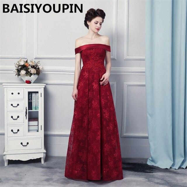 f1945873eb33 Engagement Dress Abito Cerimonia Donna Sera 2019 Off the Shoulders Burgundy  Lace Evening Dresses Elegant