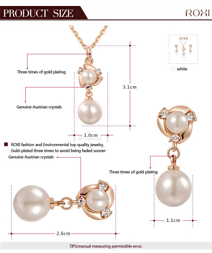 474a89a8a ... ROXI Vacation Simulated Pearl Hand Made Jewelry Sets Rose Gold Color  Stud Earrings Necklace Pendant Fashion ...