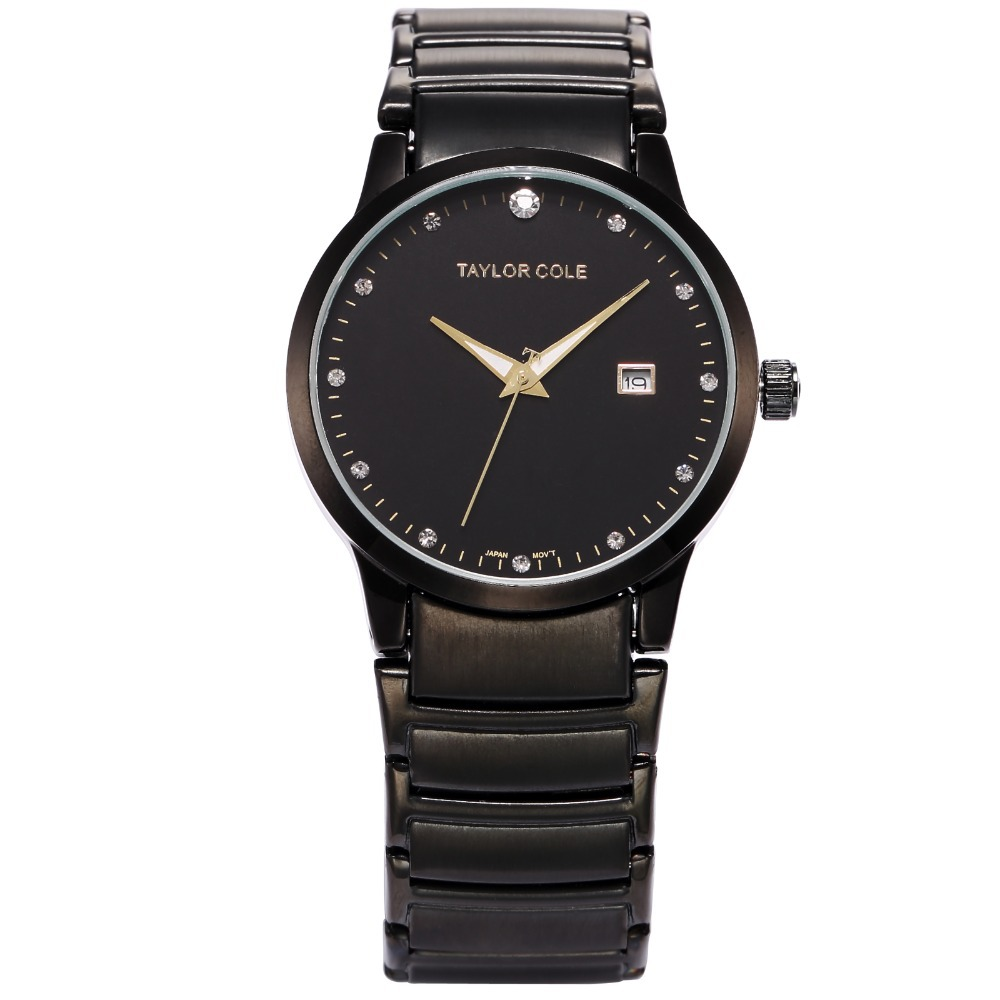 Luxury Brand Taylor Cole Black Stainless Steel Band Date Relogio Feminino Montres Femme Echo Lady Women
