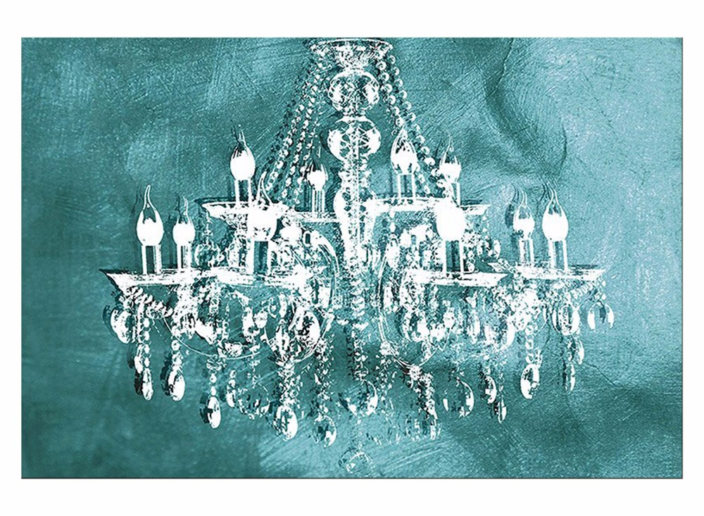 1 Panel Modern painting canvas art crystal chandelier ...