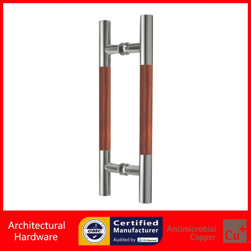 Ladder Entrance Door Handle Made Of Satin 304 Stainless Steel Brushed+Solid Rosewood For Wooden/Glass/Metal Doors PA-215 304 grade stainless steel black pull handle entrance door handles for wooden glass metal doors pa 135 38 800mm
