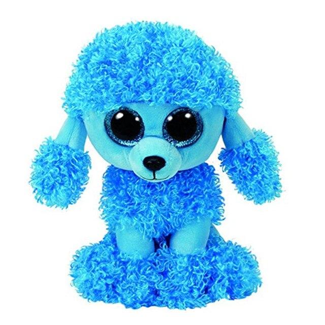 Ty Beanie Boos Big Eyes 6 15cm Blue Poodle Puppy Dog Plush Animal