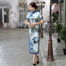 New Arrival Women's Satin Long Cheongsam Fashion Chinese Style Dress Elegant Slim Qipao Tang Clothing Size S M L XL XXL F080623