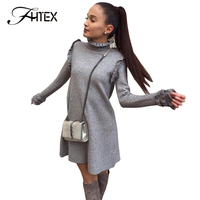 FHTEX Women Fashion Winter Dress 2017 Ruffled Collar Long Sleeve Casual Dress Ruched Long Sleeve Celebrity