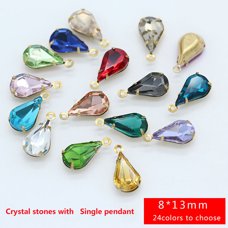 Jewelry-Making-Beads Connectors Earring Necklace Pendants Faceted Crystal Tear-Drop Findings
